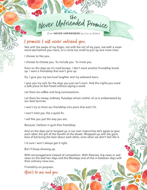 The Never Unfriended Promise